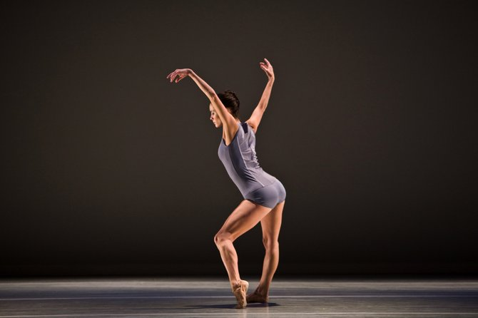 "Aspen Santa Fe Ballet company dancer Katherine Eberle performs part of Jorma Elo's work, ""1st Flash."" The company performs the piece at Steamboat Springs High School on Saturday."