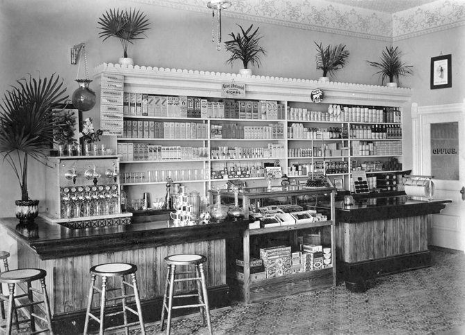 Pictured is the interior of Craig's first soda fountain circa 1905 in the City Drug Co., 520 Yampa Ave.