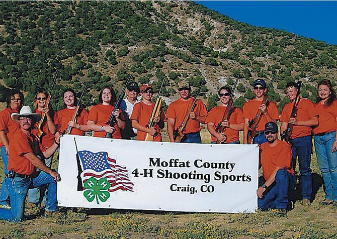 The Moffat County 4-H shooting team took home seven first-place finishes at the 2008 State Fair finals. Members of the team, front row from left: coach Jody Lee and coach Steve Sloan. Back row from left: Natasha Sloan, Austin Lee, Dakota Lee, Bob Aaberg, Wesley Chapman, Mark Tuck, Miranda Blomquist, Parker Hagins, Curtis Tuck and coach Red Lee. Not pictured: Justin Willems, Brady Springer, Kearn Gerber and Colten Yoast.
