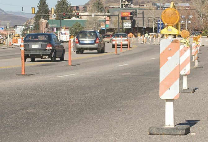 The lines of lane markers near Third Street and Lincoln Avenue were set up to help drivers navigate the complicated traffic zone. However, some drivers have been unable to avoid accidents in the area. On Monday, three cars ran into one another, after a car stopped to turn into the Old Town Hot Springs.