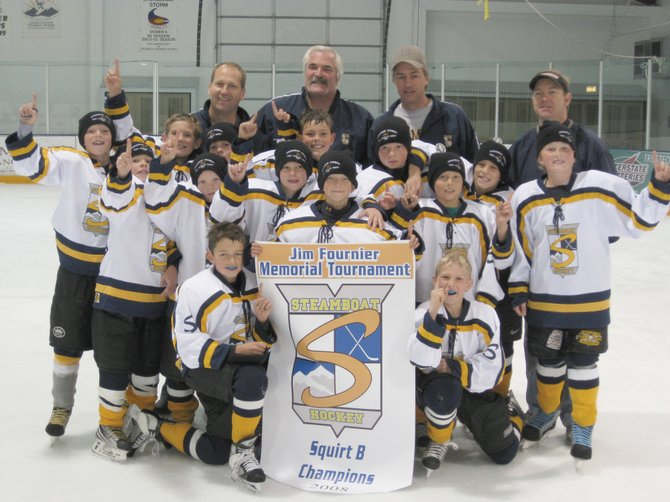 The Steamboat Squirt A team includes, front row from left, Bryce Sullivan, Matthew Thielemann, Andrew Mitchell, Joe Borgerding, Will Firestone, Christopher Kaminski and Jordan Gorr. Second Row: Sean Patten, Jack Bender, Nathan Watts, Jackson Draper and Grant McNamara. Front Row: Jack Coon and Jack McNamara. Coaches: Blair McNamara, Shawn Sullivan, Paul Mitchell and Dave Strang.