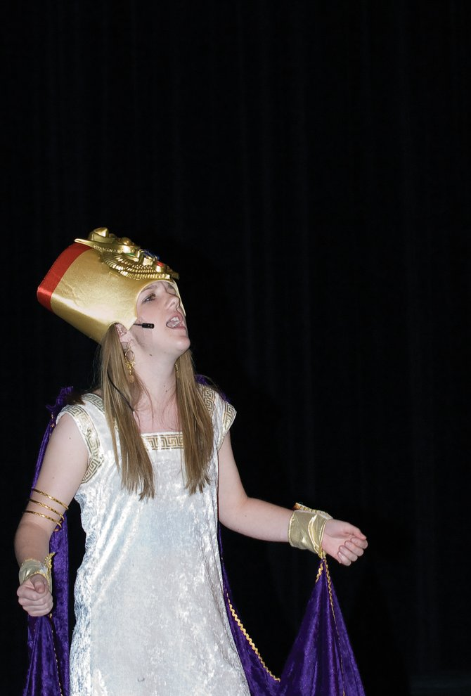 "Megan Rae plays Amneris in Steamboat Springs High School's production of ""Aida."""