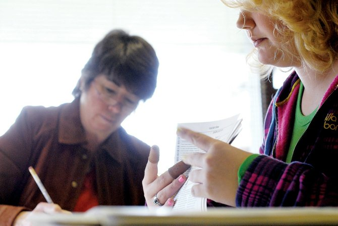 Liane Davis-Kling, left, and student election judge Arylle Rademacher, a Moffat County High School junior, audit election results Wednesday at the Moffat County Courthouse. The two are part of the canvass board, which went through 881 paper and electronic ballots Wednesday.
