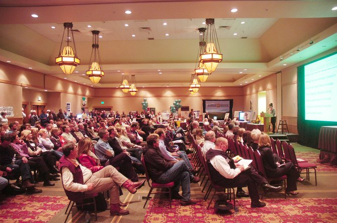 People fill the ballroom of the Steamboat Grand Resort Hotel on Wednesday evening during the Steamboat Springs Real Estate Roundup and Expo.