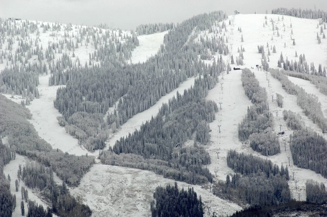 The Steamboat Ski Area reported a 14-inch base and 27 inches of total snowfall as of Friday morning. The winter conditions are in stark contrast to the dry, mild November of 2007.