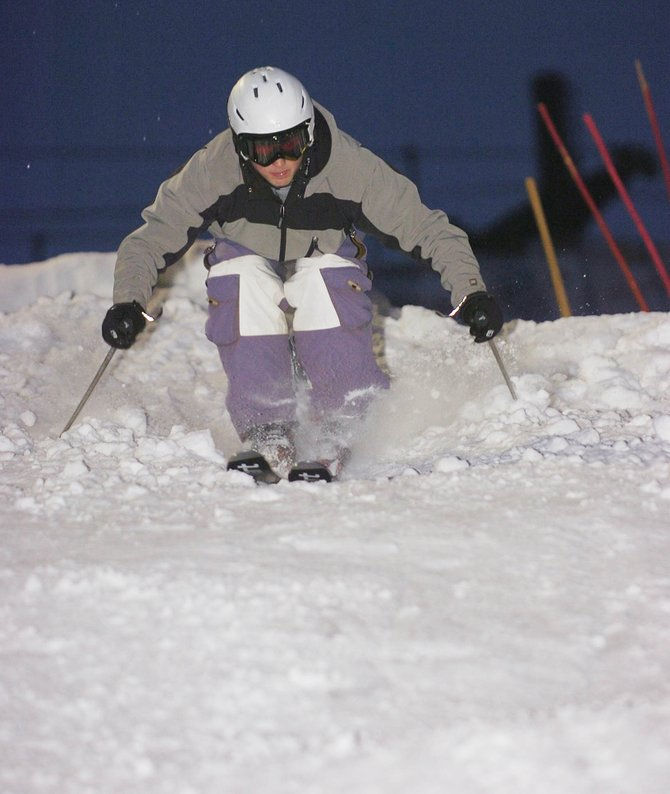 Bo Randolph, who hopes to make the U.S. Ski Team this year, trains Thursday evening at Howelsen Hill.