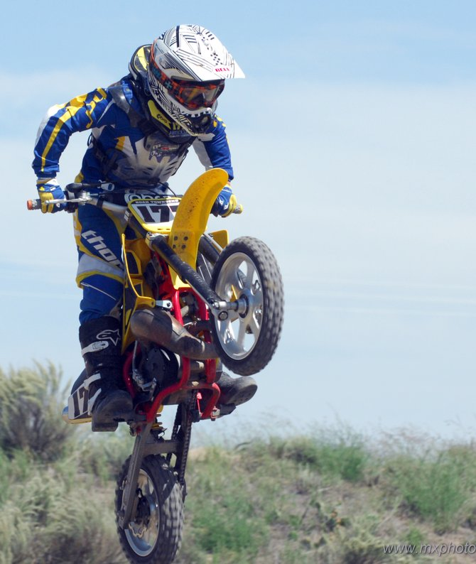 9-year-old Noah Townsend rides his motocross bike at a race this summer. Townsend won state championships in four divisions in 2008. After taking a break this winter, he plans to tackle a bigger bike and bigger competitions next year.