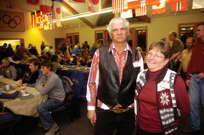 Jan and Jim Rossi pose for a photo at the New Pioneers of the Yampa Valley dinner held at Olympian Hall on Saturday evening. The couple was chosen as one of the New Pioneers for their sustainable ranching work.