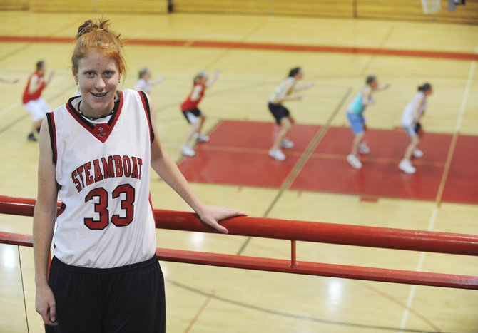 Senior Hanna Berglund, pictured Tuesday in the Kelly Meek Gymnasium at Steamboat Springs High School, plays basketball and skis for the school's Alpine team while maintaining a 3.9 grade point average.