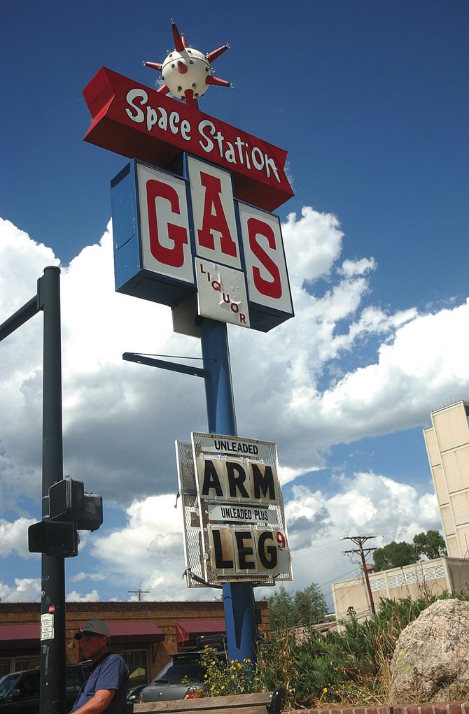 Monument Oil officials have said the Space Station gas station at Seventh Street and Lincoln Avenue could reopen within weeks under a local operator. Closed since December 2006, the iconic site displayed this humorous sign as gas prices skyrocketed in August.                