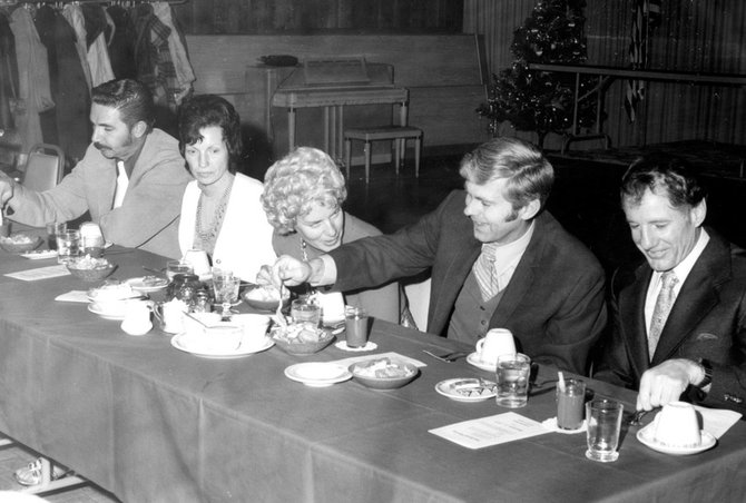 This photo was taken in the 1980s at a The Memorial Hospital dinner at Cosgriff Hotel. From left are: Larry and Jackie Polich, Pat and Gary Neptune and Bert Carroll.
