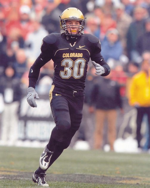 Steamboat High School graduate Joel Adams plays primarily on special teams for the Buffs. He is the only athlete in CU history to letter simultaneously in football and Alpine skiing.