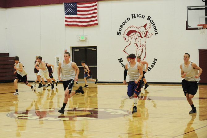 Soroco High School basketball players run sprints during a preseason practice Saturday. After opening the season with a win Tuesday, Soroco travels to West Grand on Friday for a two-day tournament.