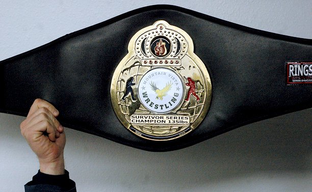 Pictured is the championship belt won by Moffat County High School student Charlie Griffiths during the Survivor Series wrestling tournament last weekend in Highlands Ranch. Griffiths (9-1) claimed the 135-pound individual title in the 11-team event.