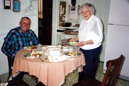 This photo of Elsie Wingo and Jim Sherin was taken at Elsie's home for Easter dinner in April 1995; photo taken by Marge Sherin.