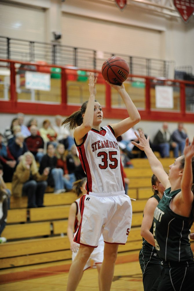 Steamboat Springs High School junior Colleen King puts up a shot during Thursday's game. The Sailors won, 45-25.