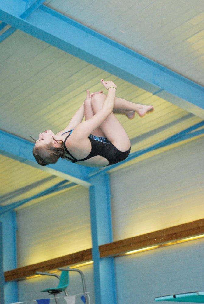 Bulldog swimmer Genna Bradley practices her diving skills last season at the Moffat County pool.