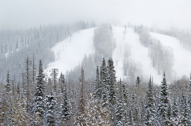 A fresh layer of snow covers the slopes of the Steamboat Ski Area on Tuesday morning after a winter storm moved through the area. Ski area officials plan to open additional terrain this weekend as more storms continue to pound Mount Werner with snow.