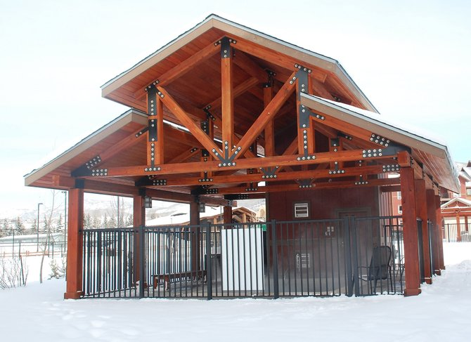 Amenity buildings at The Village at Steamboat include in-ground hot tubs with shelters built of heavy trusses. The 800,000 vacation members have helped the condominium establishment keep from going under in times of recession.