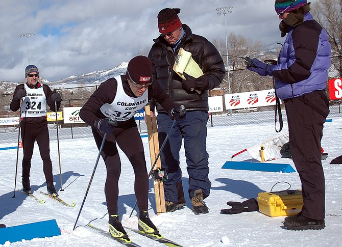 Antonio Marxuach, of Steamboat Springs, pushes away from the starting line of a classic-style cross-country ski race Saturday at Howelsen Hill.