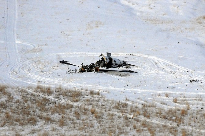 The wreckage of a single-engine plane that crashed Monday afternoon in Moffat County, as seen from the property of county resident Tom Gilliland Sr., more than 300 yards away. The crash is under investigation.