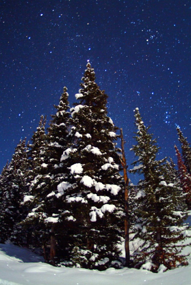 One good thing about the long, cold nights near the winter solstice is the great opportunity for star gazing. Seen here among the snowy evergreen trees are the stars of Orion, Taurus and Auriga. The red planet Mars adorns the top of the tree at center.