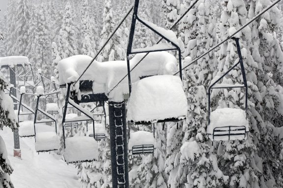 The Bar-UE chairlift boasts a heaping of powder Tuesday at the Steamboat Ski Area. The resort received 21 inches of snow since midday Monday.