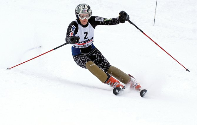 Ski racer Claire Abbe streaks down the face of Howelsen Hill on Monday morning during the second day of The FIS Holiday Classic in Steamboat Springs. Abbe edged hometown favorite Lisa Perricone to win the race.