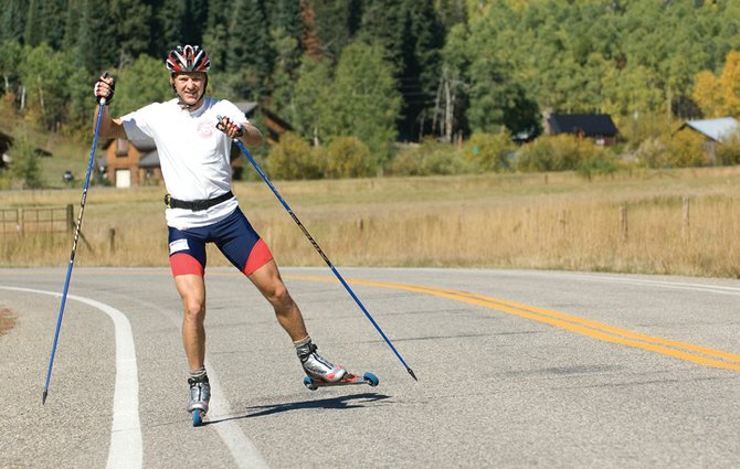 Steamboat Springs skier Todd Lodwick, shown here training near Strawberry Park this summer, returns to World Cup competition this week. Lodwick retired from competitive skiing and jumping two years ago but launched his comeback this year.