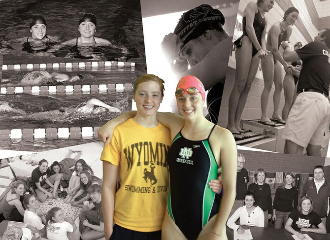 Twin sisters, Kelsey, left, and Caitlin Conci, burned their way through the Moffat County High School swimming record books on their way to competing in the NCAA. Earning scholarships to different colleges forced the twins to be apart for the first time since birth, but they are taking full advantage of it. Each has set new personal best times in the water and has contributed to her respective program - all while maintaining excellence in the classroom - in their first four months as college athletes.