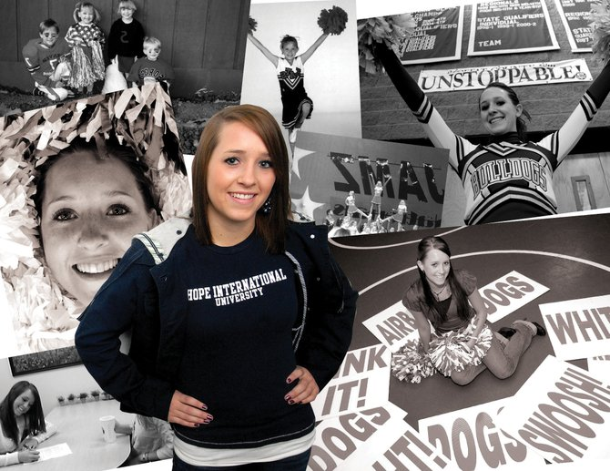 Cassie Rogers - the first Moffat County High School cheerleader to earn a college scholarship in the sport - is the lone freshman cheerleader at Hope International University in California.