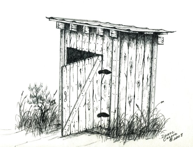 Moffat County resident Kenneth Osborn remembers a night when a group of ranchers building an outhouse at a cow camp forgot to bring hinges. Part practical and part prank, the ranchers cut out the soles of a pair of work boots to use for hinges - and then left the boots where they found them next to the outhouse for the owner to discover the missing soles. This drawing shows how the boot soles were once used as hinges on an outhouse.