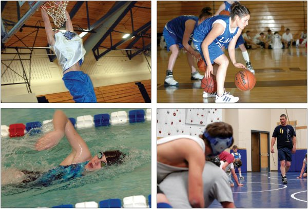 Top left: Senior Chayton Owens dunks Monday during boys basketball practice. Top right: Senior Ariel Sanchez works on her dribbling skills last month during girls basketball practice. Bottom left: Sophomore Mary Penner competes Saturday in the 100-meter freestyle. Bottom right: Bulldog wrestling coach Mark Voloshin addresses the team Wednesday during practice.