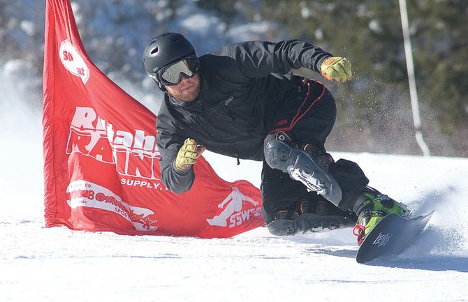 Steamboat Springs snowboarder Darren Ratcliffe trains at Howelsen Hill last week. Ratcliffe will be one of several Steamboat Springs riders looking for top finishes at the Race to the Cup on Friday.
