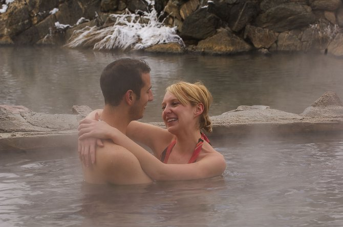 Anthony Miriani and Allison Finn enjoy one of the pools at Strawberry Park Hot Springs in December.