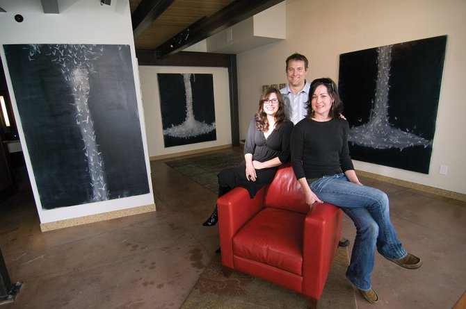 Kimberly Saari, owner of K. Saari Gallery in Steamboat Springs, has joined forces with Brandt Vanderbosch, middle, owner of Vertical Arts Architecture and his designer, Katy Vaughn, right, to open a satellite gallery in Brandt's business at Wildhorse Marketplace.