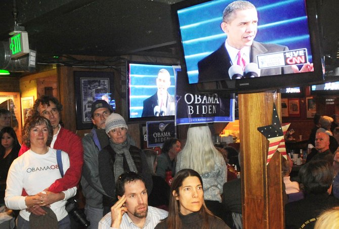 Routt County Democrats attend a breakfast viewing of Barack Obama's inauguration Tuesday morning at The Tap House Sports Grill.