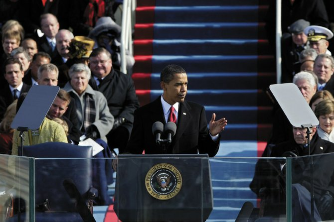 President Barack Obama delivers his inagural address after taking the oath as the 44th U.S. President at the U.S. Capitol in Washington, D.C., today.