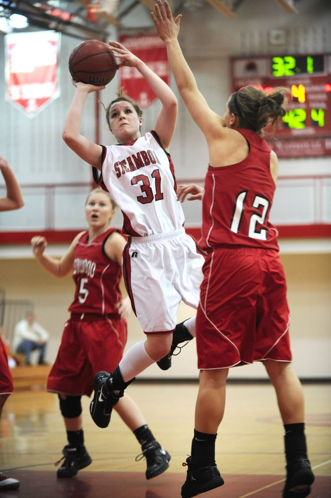 Steamboat Springs High School junior Gracie Stockdale puts up a shot during Saturday's game against Glenwood Springs.