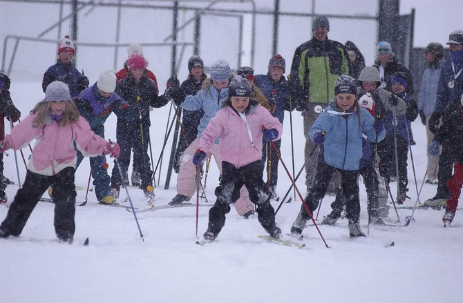 Seven- and 8-year-olds take off from the starting line at Howelsen Hill during the cross-country obstacle race in the 2008 Winter Carnival. Registration begins today for children's horse events at this year's Winter Carnival.