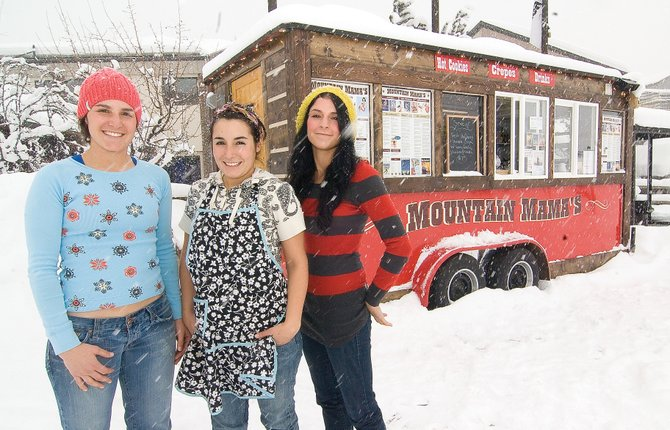 Julie, Tara and Jill Wernig, shown from left, have opened a new business, Mountain Mama's, at the Gondola Transit Center near the base of Steamboat Ski Area. The business offers hungry skiers the opportunity to purchase crepes, hot cookies and even a meatball sandwich if they choose before hitting the slopes.