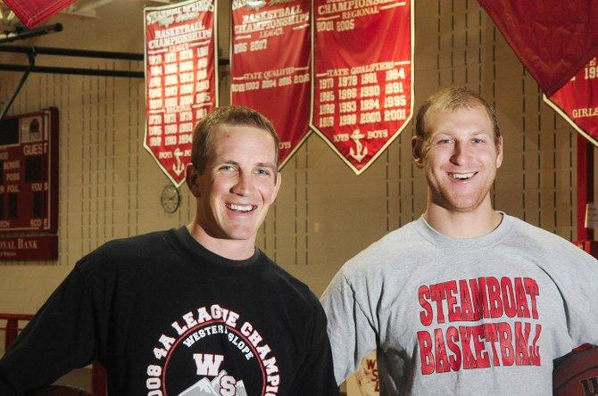 Steamboat Springs High School alumni Cody Sherrill, left, and Devin Borvansky returned to the Sailors basketball program this season to coach the freshmen and junior varsity teams.