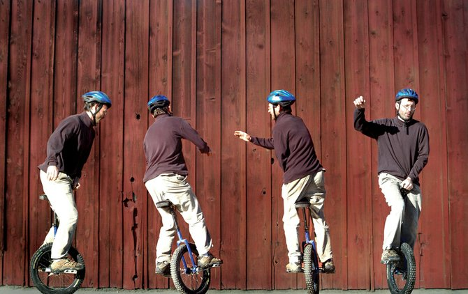 The progression of a 360-degree spin by Kevin Morris on his unicycle is shown in this photo illustration. Morris hopes to start a unicycle club in Craig to help others learn the hobby.