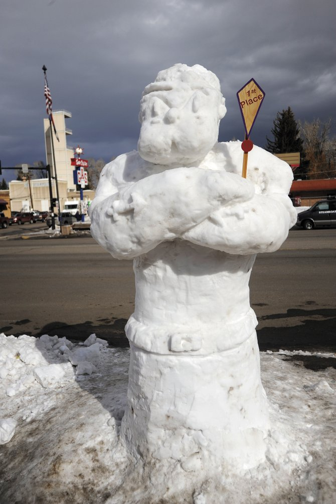 "The ""Popeye"" snow sculpture, by students Abraham Rodriguez, Rogelio Loya, Daniel Delgadillo, Jose Luis and Alan Nunez in Old Town Square at Seventh St. and Lincoln Ave., won first place in this year's contest."