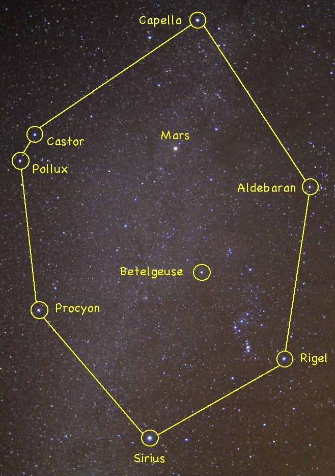 The eight bright stars of the Winter Circle are easy to spot high in the southern sky about 8 p.m. this month.  When this image was taken in January 2008, the planet Mars was also within the Winter Circle.  It has since moved on. 