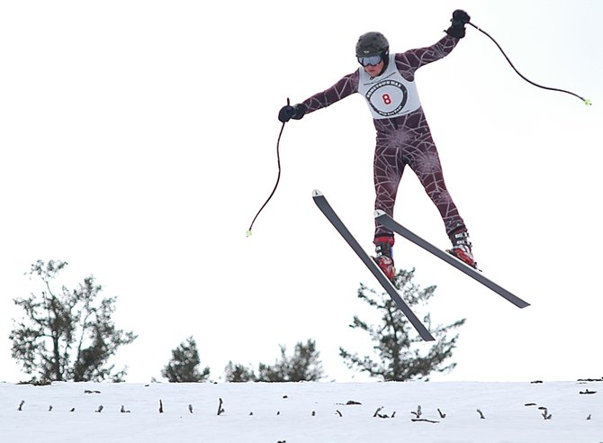 Jordan Goldsmith tries to right himself as he prepares to land during Sunday's final rounds in the Pro Alpine Flying Championships gelande competition at Howelsen Hill in downtown Steamboat Springs. Goldsmith placed sixth in the competition with jumps of 96 meters and 92.5 meters.