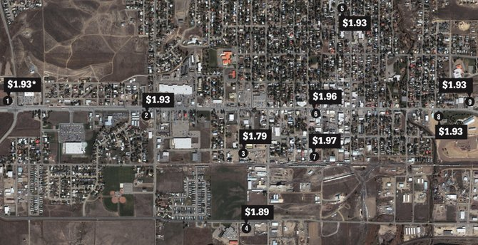 An aerial view of Craig, with gas prices noted for a gallon of unleaded gas. See box below for names of the gas stations.