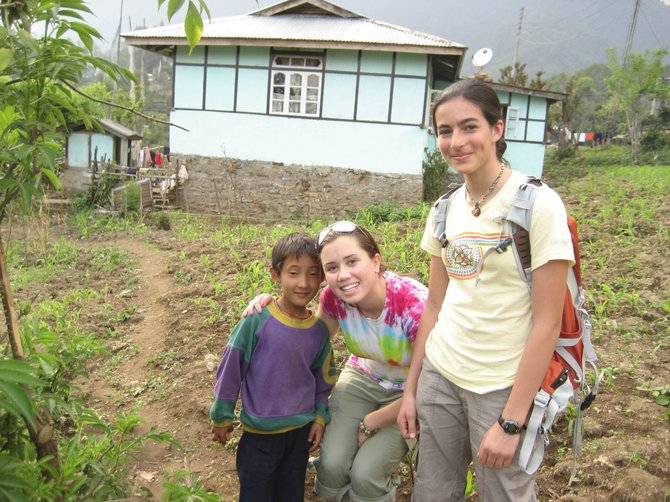 The Lowell Whiteman School students Clare Southworth, right, and Sarah Allan in Sikkim, India, during a Foreign Travel Program trip in 2008.