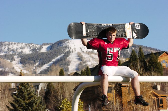 Steamboat Springs High School senior Mick Dierdorff, pictured at Gardner Field during the football season, will be competing at a snowboardcross World Cup event Feb. 28 and qualified for the Junior World Championships in Japan.