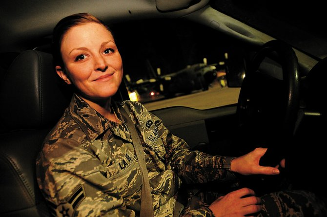 Rebekah LaDue, shown here in November 2008 at Joint Base Balad in Iraq, is scheduled to arrive home from military duty in Hayden at 1 p.m. today.